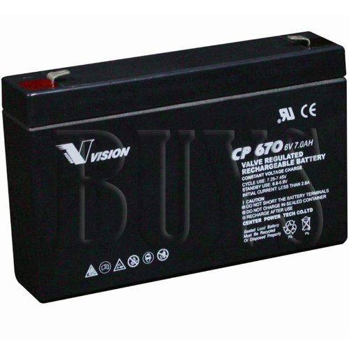 CP670 Sealed AGM 6v 7ah Vision Battery replaces CP672, WP7-6, LC-R067R2P, LC-R067P, LCR6V6.5P, PE6V6.5, NP6-6, WKA6-7.2F, RT670, PS-670, UB670, SLA7-6, NP7-6, BP7-6, PE6V7.2, CA670, 6CE7.5, GP670, GP672, ES7-6, ERB-0606, CF-6V7, ELK-0675, ELB-0607, ELB0607, SLA0925, BSL0925