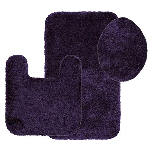 Maples Rugs Bathroom Rugs Colorsoft 3pc Non Slip Washable Bath Mats & Toilet Lid Cover Set [Made in USA] Soft & Quick Dry Eggplant ()