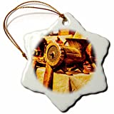 3dRose Alexis Photography - Objects - Vintage mincing machine - Golden Age Technologies. Stylized photo - 3 inch Snowflake Porcelain Ornament (orn_270817_1)