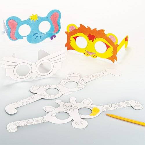 Animal Glasses Card Blanks for Children to Paint and Decorate (Pack of (Blank Animal Masks)