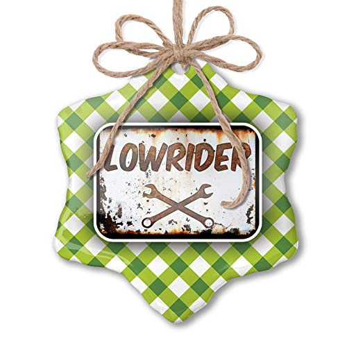 (NEONBLOND Christmas Ornament Rusty Old Look car Lowrider Green Plaid)