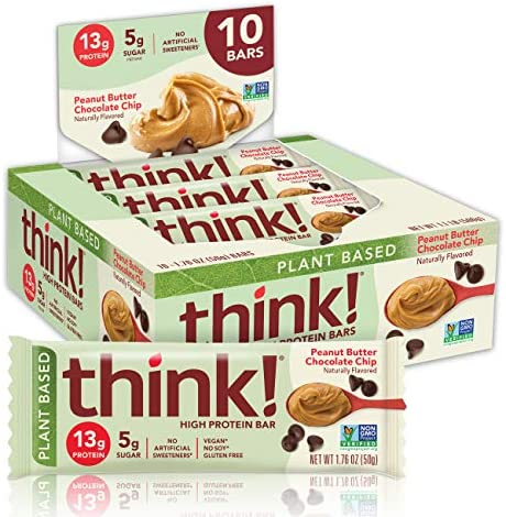think! High Protein Bars 20g Protein, 0g Sugar, No Artificial Sweeteners, Gluten GMO Free, Chocolate Mint, Peanut Butter Chocolate Chip, 10 Count 1