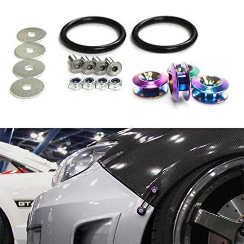 iJDMTOY Neo Chrome Finish JDM Quick Release Fasteners For Car Bumpers Trunk Fender Hatch Lids Kit