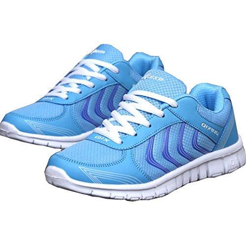 Laufschuhe Flache Sneakers Solshine Turnschuhe Schnürer Fitnessschuhe Sportschuhe Mesh Damen Hellblau 0EErxwp