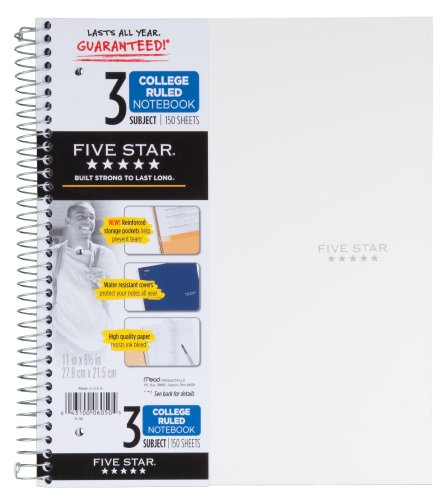 043100060505 - Mead 5 Star Notebook, 3 Subject College Ruled carousel main 5