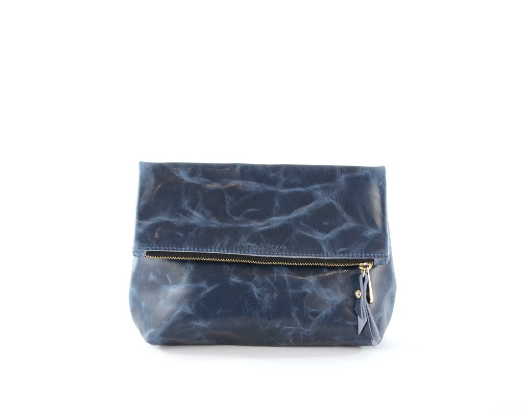 Bluestone Leather Fold Over Clutch- Tre Clutch