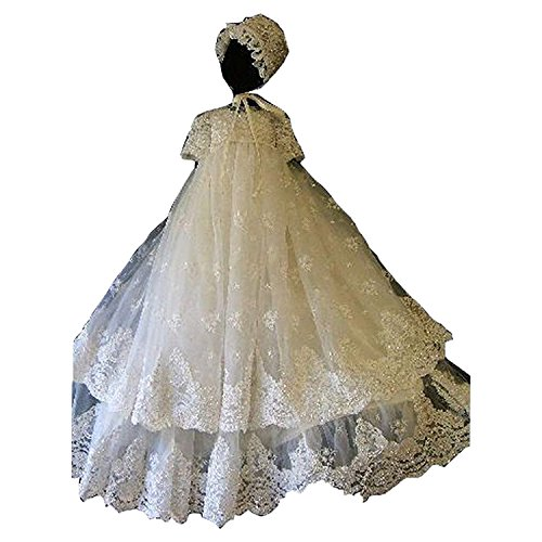 Fenghuavip Elegant 2 Layers Ivory Long Christening Gowns for Baby Girls
