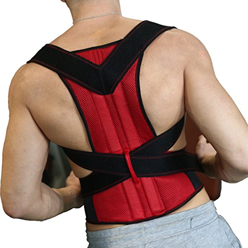 Back Support with 2 pcs Steel for Posture Corrector and Adjustable Double Pull shoulder back support belt S-XXL by Aofit (XXL, Red)