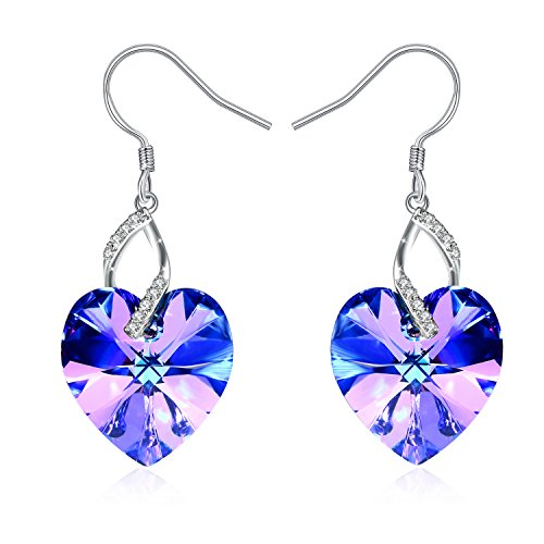 Dangling Heart 3 - J.Rosée Heart Earrings with 925 Sterling Silver and 3A Cubic Zirconia Crystal from SWAROVSKI, Jewelry Gifts for Women Mother's Day