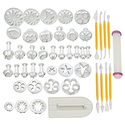 Pro Fondant Modeling Set | Assorted Modeling Tools and Plunger Cutters for Fondant Gum Paste Sugarcraft | Dishwasher Safe Durable Smooth PP Material