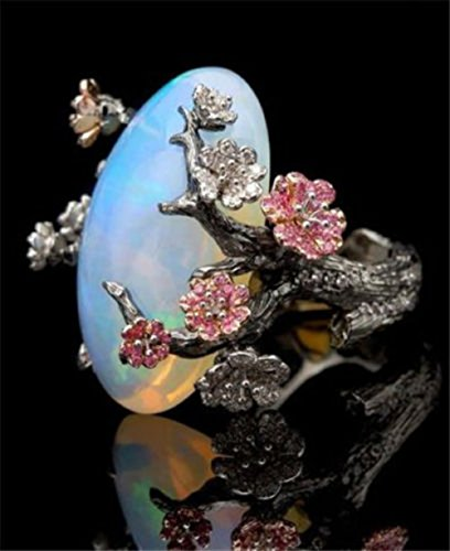 (A.Yupha Retro White Fire Opal Plum Flower Ring 925 Silver Women Wedding Party Size 6-10 (9))