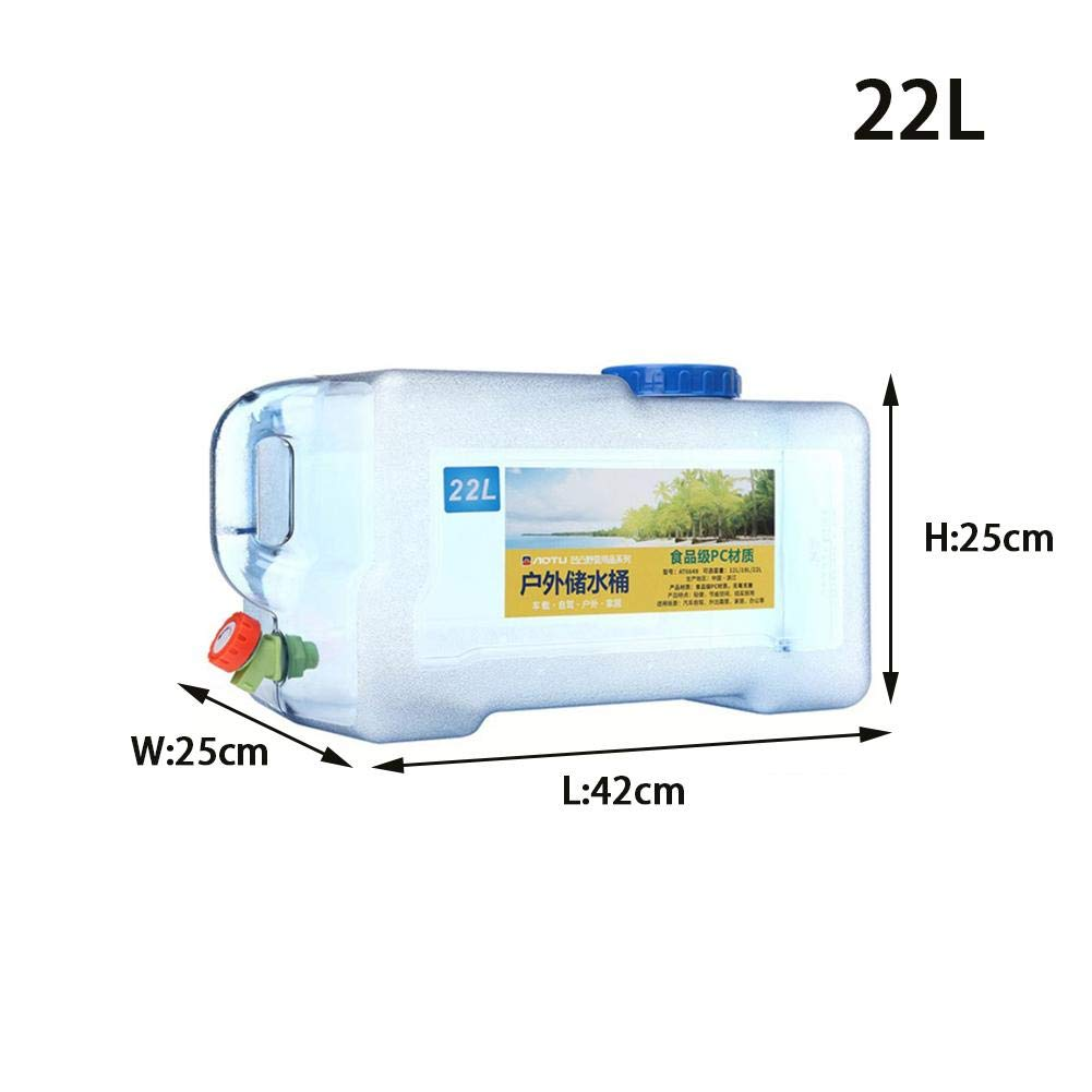miniflower Portable Water Bucket 12L 18L 22L Outdoor Self-Driving Plastic Water Container with Faucet for Household BBQ Camping Hiking Climbing