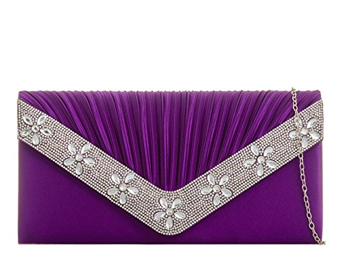 Bag Women's Wedding Satin 839 Handbags Night Bridal's LeahWard Evening Out Purple Clutch CfqdRnxt