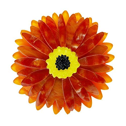 1960s Jewelry Styles and Trends to Wear Erstwilder Sunshine of Life Gerbera Brooch $29.00 AT vintagedancer.com