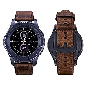 iBazal 20mm Watch Bands Leather Quick Release Straps Replacement Wristbands Compatible Galaxy Watch 42mm/Active 40mm/Gear S2 Classic/Sport/Huawei 2/Ticwatch/Fossil/Moto/Pebble/Nokia - Dark Brown/Black