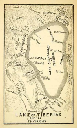 1858 Print Map Lake Gennesaret Tiberias Sea Galilee Israel ... on dead sea map, golgotha map, mount of beatitudes map, bethany map, sea of tiberias map, mount of olives map, gethsemane map, abilene map, capernaum map,