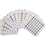 Heavy Duty 100% Cotton Checked Dishcloths Catering Cloths Multi-Pack (Pack of 12)