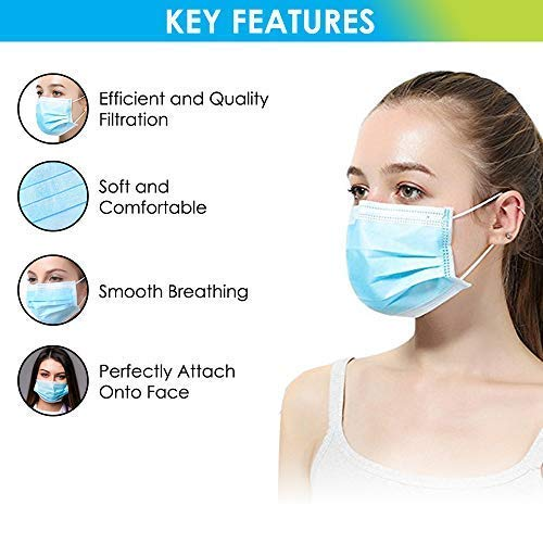 150 Pcs 3-ply Blue Disposable Earloop Face Medical Mask - Used for Dental,  Doctor, Surgical, Allergy, Dust,