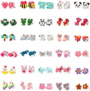 SkyWiseWin Hypoallergenic earrings Set for Kids, 30 Pairs Colorful Cute Animal Stud Earrings for Girls, Childr