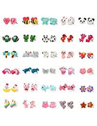 SkyWiseWin Hypoallergenic earrings Set for Kids, 30 Pairs Colorful Cute Animal Stud Earrings for Girls, Children's Jewelry Gift Set
