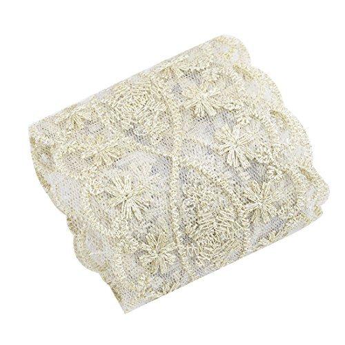 DealMux Polyester Floral Design DIY Clothes Patch Lace Trim Applique 2.2 Yards Gold Tone