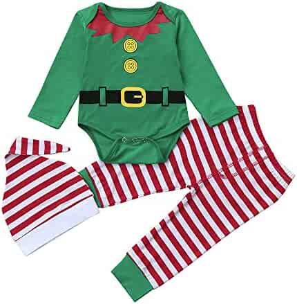 fa536290d258 Christmas Outfit Sets Baby Girls Boys My First Christmas Snowflake Coat  Bodysuit Rompers