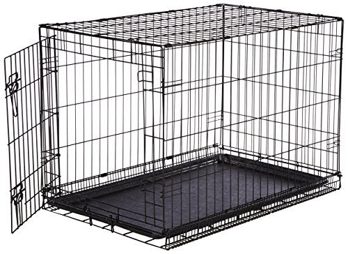 AmazonBasics Single-Door Folding Metal Dog Crate - Medium (36x23x25 Inches) (Medium Cage)