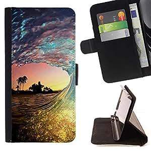 For HTC Desire 626 626w 626d 626g 626G dual sim Case , Surf Sun Sea Palms verano- la tarjeta de Crédito Slots PU Funda de cuero Monedero caso cubierta de piel