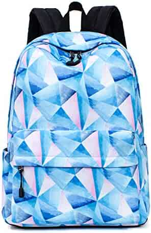 Leaper School Backpack Teens Geometric Pattern Travel Bag Bookbag Satchel  Blue e3ee6b1383efc