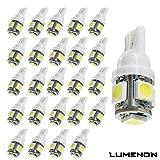Lumenon T10 Wedge 5SMD 5050 White 6000k 6k LED Light bulbs W5W 2825 158 192 168 194 (20 pcs, White) ()