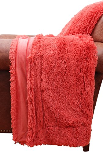 Thro by Marlo Lorenz Throw Spiced Coral Chubby Faux Fur Deco