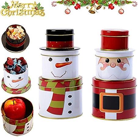 lzn 1 x Schneemann Weihnachtsmann Weihnachten S/ü/ßigkeitensdose S/ü/ßigkeiten Dos 3 Schichten