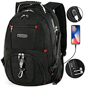 CrossGear TSA Laptop Backpack with USB Charging Port and Combination Lock- Fits Most 17.3 Inch Laptops and Tablets CR-8112BKXL
