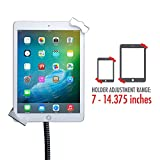 """CTA Digital: Heavy-Duty Height-Adjustable, Rotating Tablet Stand with Security, Gooseneck and Locking Wheels for 7-13"""" Tablets, Including iPad 10.2-Inch (7th Gen.), Silver, Universal"""