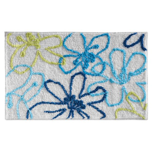 InterDesign Microfiber Hibiscus Bathroom Shower Accent Rug, 34 x 21, Blue/Green -