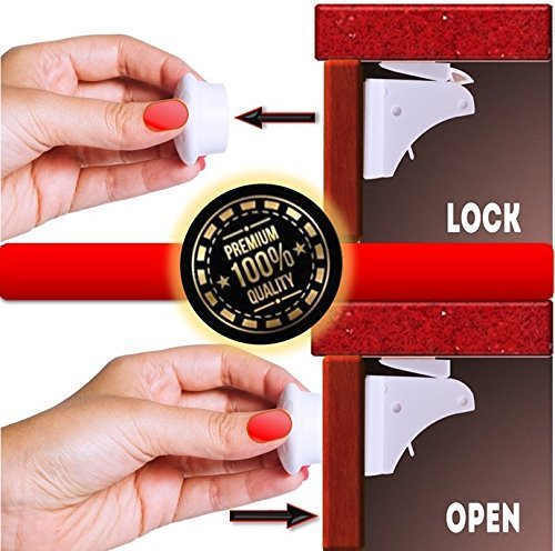 Magnetic Safety Cabinet Locks - 8 Magnetic Locks + 2 Keys - Absolute Protection for Your Children - Fits Most Cabinets/Drawers - Tool-Free Installation - Extra Strength Magnets & 3M Adhesive Tape