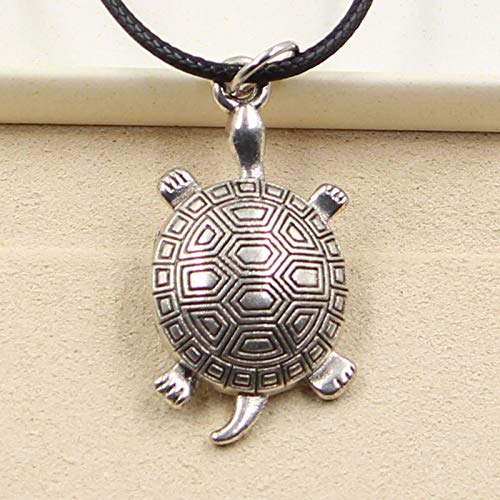 - Turtle Necklace - New Fashion Tibetan Silver Pendant Tortoise Turtle Necklace Choker Charm Black Leather Cord Factory Price Handmade Jewelry