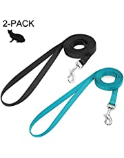 rabbitgoo Small Pet Leash, Cat Walking Long Nylon Dog Leashes, Easy Control Lightweight Durable Kitten Puppy Leash with 360 Degree Swivel Clip, Training Leashes for Small Medium Cat,150cm(59 inches), 2 Pack (Black & Green)