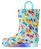 Outee Boys Kids Rain Boots Light up Waterproof Lightweight Colorful Cars Cute Lovely Funny Print with Easy-On Handles (Size 3,Blue)