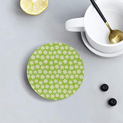 Summer Daisy Flowers Chrysanthemum Floral Green Funny Diatomite Drink Coasters Environmental Health Absorbent Coaster Prevent Furniture From Dirty and Scratched Suitable for Kinds Of Cup and Mug