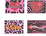 Girls Pink Animal Print Valentine Card Assortment, 20 Pack