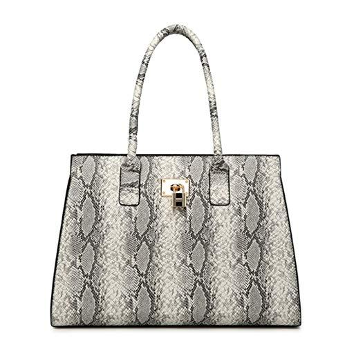(Yan Show Women's PU Elegant Handbag Fashion Shoulder Bag Snake Skin Texture Totes Travel Bag (Gray), Large)