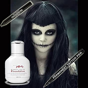 Halloween Scary Wicked Witch MakeUp Set Of 3 - Miss Pouty White Liquid Foundation, Stargazer