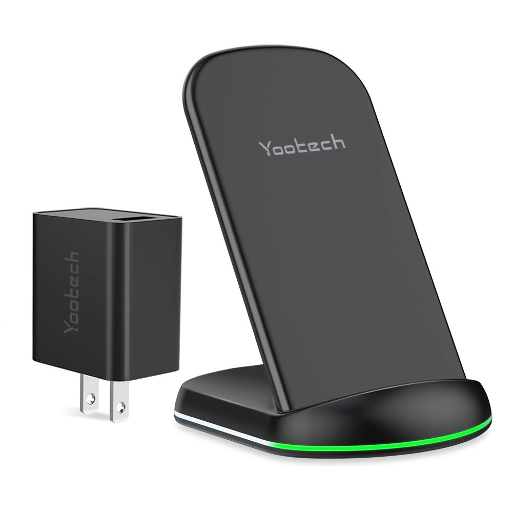 Yootech Wireless Charger, Qi-Certified Wireless Charging Stand with Quick Adapter,Compatible with iPhone XR/XS Max/XS/X/8/8Plus, 10W for Galaxy Note 10/Note 10 Plus/S10/S10 Plus/S10E by yootech