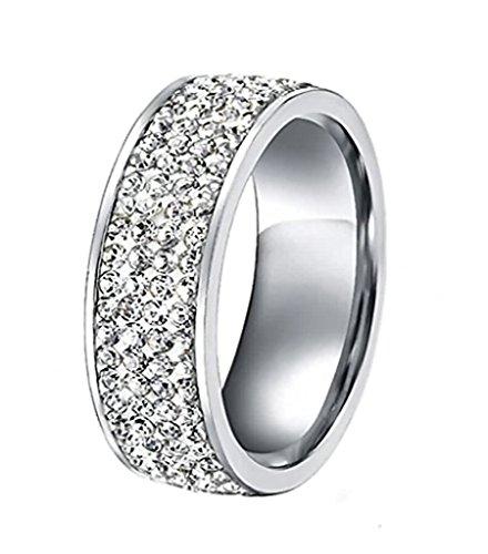 AnaZoz Jewelry Women Stainless Steel Eternity Ring CZ Cubic Zirconia for Wedding,7mm Width White Size 12