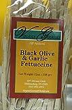 Black Olive & Garlic Fettuccine Pasta - All Natural Vegan Handmade Virginia Gourmet Al Dente Pasta 6 Pack