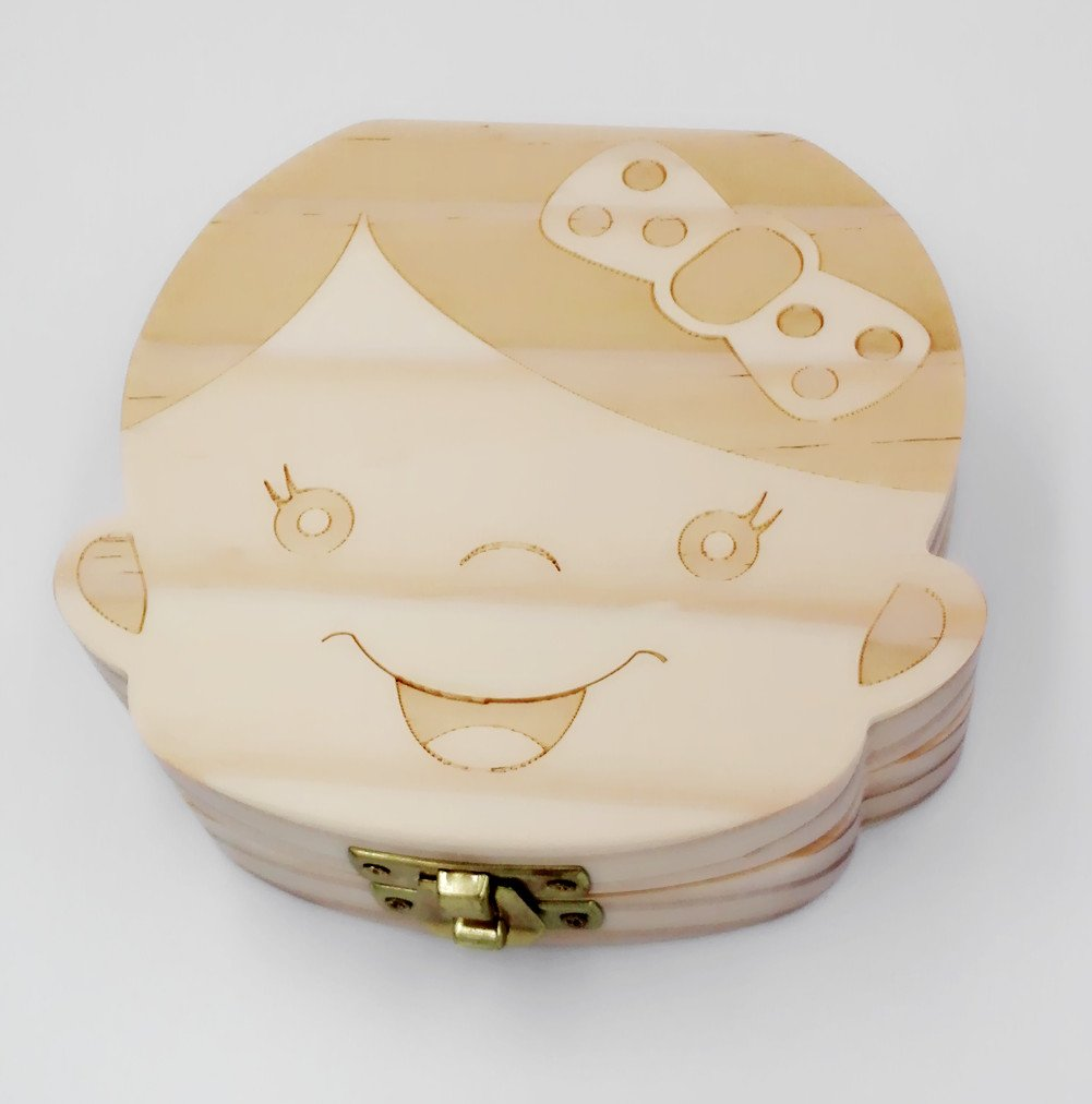 Wood Girl Shape Baby Teeth Box English Version 1Pc by fly-dent (Image #1)