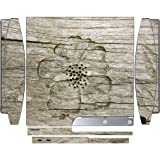 Flower Carved out of Wooden Background Playstation 3 & PS3 Slim Vinyl Decal Sticker Skin by Moonlight Printing