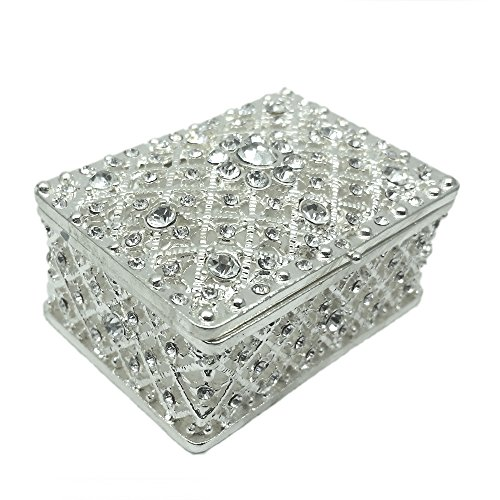 Silver Plated Alloy Millgrain Mesh Trinket Jewelry Box (Silver Plated Trinket Boxes)