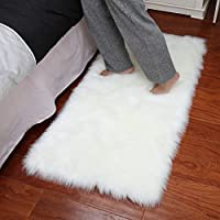 Junovo Luxury Plush Fuax Sheepskin Area Rug Fluffy Fuax Fur Shag Carpet,2ft x 3ft,Ivory White